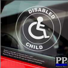 1 x Disabled Child-Round-Window Sticker-Sign,Car,Warning,Notice,Logo,Son,Daughter